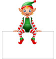 cartoon christmas elf sitting on blank sign vector image vector image