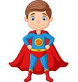 cartoon happy superhero boy posing vector image