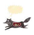 Cartoon wolf with mouse in belly with speech
