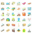 city element icons set cartoon style vector image vector image