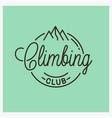 climbing club logo round linear mountains vector image vector image