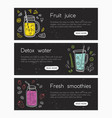 collection of web banner templates with smoothies vector image