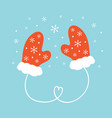 couple of warm mittens knitted gloves vector image