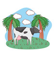 cute animal outdoors cartoon vector image