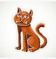 cute cartoon doodle red cat nice pet sitting vector image