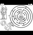 fairy tale maze coloring page vector image