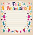 Feliz Aniversario Brazilian Portuguese Happy vector image vector image