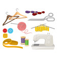 flat set of objects related to sewing and vector image vector image