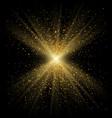 gold sparkle on black background golden light vector image