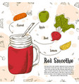hand drawn smoothie poster with of vector image vector image