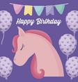 happy birthday card with cute unicorn vector image vector image