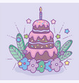 happy birthday chocolate cake candle flowers vector image