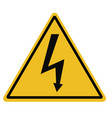 High voltage triangular warning sign on white