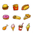 pop art style set of fast food stickers vector image vector image
