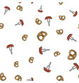 pretzel and sausage pattern seamless vector image vector image