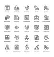 project management line icons set 9 vector image