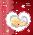 Red baby shower card with cute baby vector image vector image