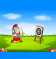 roman soldier with bow and target vector image vector image
