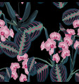 seamless pattern with tropical leaves and orchid vector image