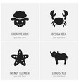 set of 4 editable animal icons includes symbols vector image