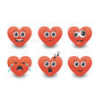 set red cute emoticon hearts vector image