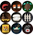 Stylish flat icons collection for seafood vector image