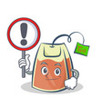 tea bag character cartoon with sign vector image vector image