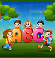 the children are learn alfabet vector image vector image