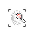 thin line fingerprint scan loupe icon vector image vector image