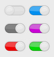 toggle switch buttons colored on and off web vector image vector image