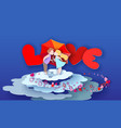valentines day card loving couple kisses behind vector image vector image