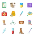 Veterinary clinic icons set cartoon style vector image vector image