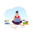 young woman working on laptop at home vector image