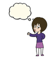 cartoon woman making welcome gesture with thought vector image