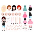 cute girl character constructor modern hipster vector image