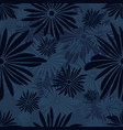 seamless floral pattern with dark and light blue vector image