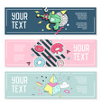 abstract memphis style horizontal banners vector image vector image