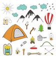adventures camping travel hand drawn design vector image vector image