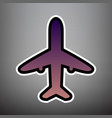 airplane sign violet vector image