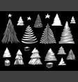 big set of christmas tree doodle hand drawn vector image