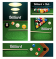 billiard sport club and poolroom banner template vector image vector image
