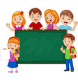 cartoon school children with chalkboard vector image vector image