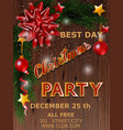 christmas party design poster with tree and bow vector image vector image