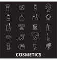 cosmetics editable line icons set on black vector image