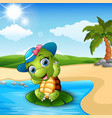 cute baby turtle on the beach vector image vector image