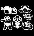 cute panda stickers vector image