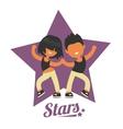 Dance school logo twosome dancers vector image