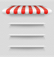 empty white shop shelf under striped white and red vector image vector image