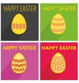 Flat easter egg set with wishes and long shadow vector image vector image