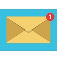 flat envelope icon on blue background vector image
